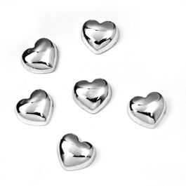 Sweetheart heart-shaped metal magnets, set of 6