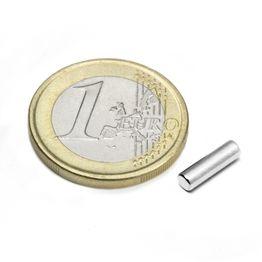 S-03-10-N Cylindre magnétique Ø 3 mm, hauteur 10 mm, tient env. 390 g, néodyme, N45, nickelé