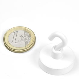FTNW-25 Hook magnet white Ø 25,3 mm, holds approx. 16 kg, powder-coated, thread M4