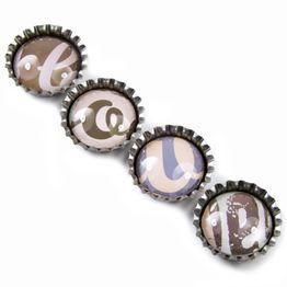 Bottle cap magnets 'Love' fridge magnets, set of 4