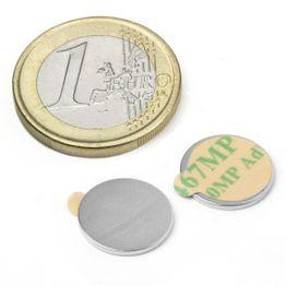 S-13-01-STIC Disque magnétique autocollant Ø 13 mm, hauteur 1 mm, néodyme, N35, nickelé
