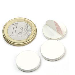 PAS-16-W Metallscheibe selbstklebend weiß Ø 16 mm, als Gegenstück zu Magneten, kein Magnet!