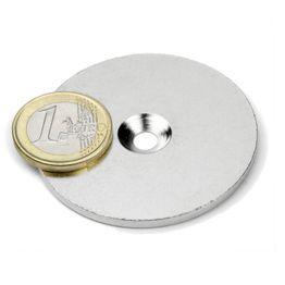 MD-52 Metalen schijf met verzonken gat Ø 52 mm, als tegenstuk voor magneten, geen magneet!