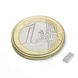 Q-05-2.5-1.5-HN Quadermagnet 5 x 2,5 x 1,5 mm, hält ca. 350 g, Neodym, 44H, vernickelt