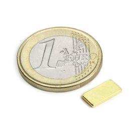 Q-10-05-01-G Quadermagnet 10 x 5 x 1 mm, Neodym, N50, vergoldet