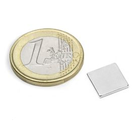 Q-10-10-1.2-N52N Bloque magnético 10 x 10 x 1,2 mm, sujeta aprox. 1 kg, neodimio, N52, niquelado