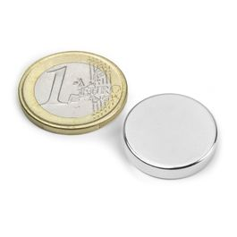 S-20-04-N Disco magnetico Ø 20 mm, altezza 4 mm, neodimio, N42, nichelato