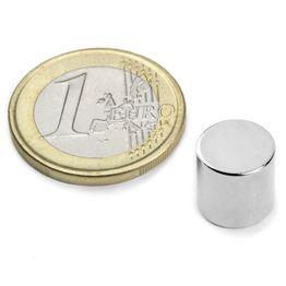 S-10-10-N Schijfmagneet Ø 10 mm, hoogte 10 mm, houdt ca. 3,9 kg, neodymium, N45, vernikkeld
