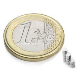 S-02-01-N Disque magnétique Ø 2 mm, hauteur 1 mm, tient env. 110 g, néodyme, N48, nickelé