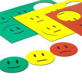 Simboli magnetici smiley per lavagne bianche e lavagne per la progettazione, 6 smiley per foglio A5, set di 3 pezzi: verde, giallo, rosso