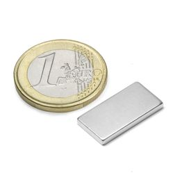 Q-20-10-02-N Block magnet 20 x 10 x 2 mm, holds approx. 2,1 kg, neodymium, N45, nickel-plated