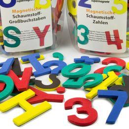 Cifras o letras magnéticas set de signos magnéticos, de espuma EVA, 4 colores mezclados