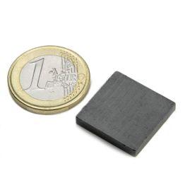 FE-Q-20-20-03 Quadermagnet 20 x 20 x 3 mm, hält ca. 450 g, Ferrit, Y35, unbeschichtet