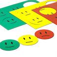 Para pizarras blancas y paneles de planificación, 6 emoticonos por hoja A5, set de 3 piezas: verde, amarillo, rojo