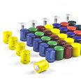 Imanes de neodimio con tapa de plástico, Ø14mm, en diferentes colores