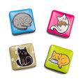 Imanes decorativos con motivos de gatos, 4 uds.