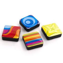 SALE-053/colors, Iconos psicodélico, imanes decorativos cuadrados, 4 uds., con diferentes diseños