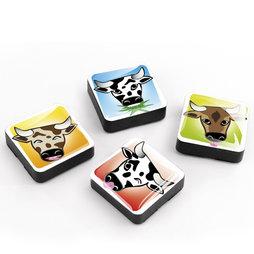 SALE-053/mooh, Iconos «Vacas», Imanes decorativos cuadrados, 4 uds., Vacas