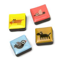 SALE-053/animals, Iconos animales, imanes decorativos cuadrados, 4 uds., con diferentes diseños
