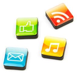 SALE-053/apps, Iconos aplicaciones, imanes decorativos cuadrados, 4 uds., con diferentes diseños
