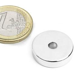 R-20-04-05-N, Aro magnético Ø 20/4,2 mm, alto 5 mm, neodimio, N45, niquelado