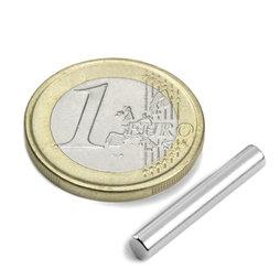 S-04-25-N, Cilindro magnético Ø 4 mm, alto 25 mm, neodimio, N42, niquelado