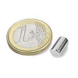 S-06-10-N, Cilindro magnético Ø 6 mm, alto 10 mm, neodimio, N40, niquelado