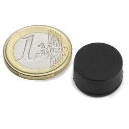 S-15-08-R, Disco magnético de goma Ø 16,8 mm, alto 9,4 mm, neodimio, N42