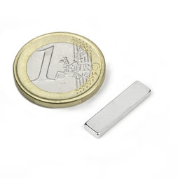 Q-20-05-02-HN, Block magnet 20 x 5 x 2 mm, neodymium, 44H, nickel-plated