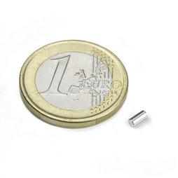S-02-04-N, Cilindro magnético Ø 2 mm, alto 4 mm, neodimio, N45, niquelado