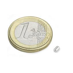 S-02-03-N, Cilindro magnético Ø 2 mm, alto 3 mm, neodimio, N45, niquelado