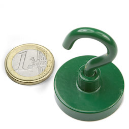 FTNG-32, Gancho magnético verde Ø 32,3 mm, recubrimiento de polvo, rosca M5