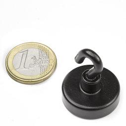 FTNB-25, Gancho magnético negro Ø 25,3 mm, recubrimiento de polvo, rosca M4