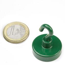 FTNG-25, Gancho magnético verde Ø 25,3 mm, recubrimiento de polvo, rosca M4