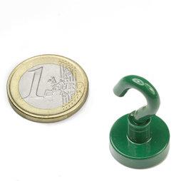 FTNG-16, Gancho magnético verde Ø 16,3 mm, recubrimiento de polvo, rosca M4