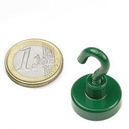 FTNG-20, Gancho magnético verde Ø 20,3 mm, recubrimiento de polvo, rosca M4
