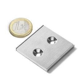 CSR-40-40-04-N, Imán plano 40 x 40 x 4 mm, con taladro avellanado, en perfil de acero en forma de U