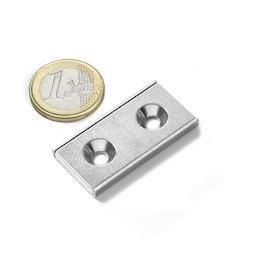 CSR-40-20-04-N, Imán plano 40 x 20 x 4 mm, con taladro avellanado, en perfil de acero en forma de U