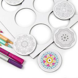 LIV-108, Mandala, imanes de nevera para colorear, redondo, 9 uds.
