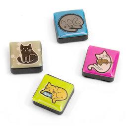 SALE-053/cats, Iconos, imanes decorativos cuadrados, 4 uds., gatos