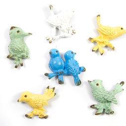 SALE-103, Ornament Birds, imanes de nevera con aspecto desgastado, 6 uds.
