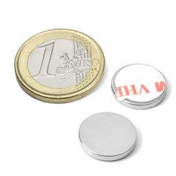 S-15-02-FOAM, Disco magnético adhesivo Ø 15 mm, alto 2 mm, neodimio, N35, niquelado