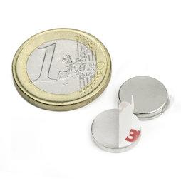 S-12-02-FOAM, Disque magnétique autocollant Ø 12 mm, hauteur 2 mm, néodyme, N35, nickelé