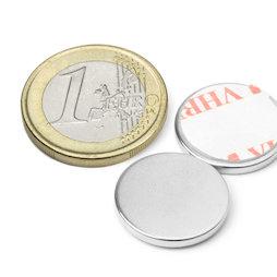 S-18-02-FOAM, Disco magnético adhesivo Ø 18 mm, alto 2 mm, neodimio, N35, niquelado