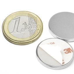 S-22-02-FOAM, Disco magnético adhesivo Ø 22 mm, alto 2 mm, neodimio, N35, niquelado