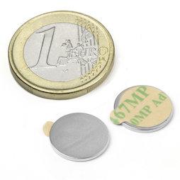 S-13-01-STIC, Disco magnético adhesivo Ø 13 mm, alto 1 mm, neodimio, N35, niquelado