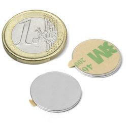 S-18-01-STIC, Disco magnético adhesivo Ø 18 mm, alto 1 mm, neodimio, N35, niquelado