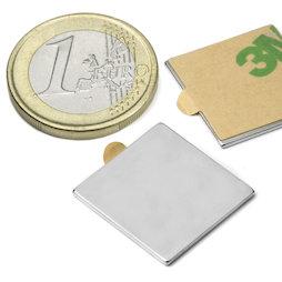 Q-20-20-01-STIC, Bloque magnético adhesivo 20 x 20 x 1 mm, neodimio, N35, niquelado