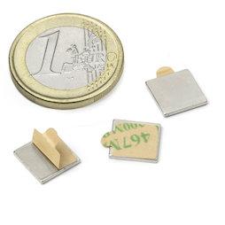 Q-10-10-01-STIC, Parallelepipedo magnetico autoadesivo 10 x 10 x 1 mm, neodimio, N35, nichelato
