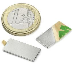 Q-20-10-01-STIC, Bloque magnético adhesivo 20 x 10 x 1 mm, neodimio, N35, niquelado